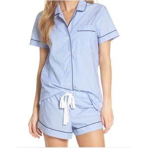 J CREW Vintage Pajama Set Blue Shorts